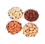 Assorted Four types of dry fruits (Total 1 Kg)packed in a medium size german silver bowls. Long after the dryfruits are consumed, the lovery german silver bowls can be untilized for multi purposes.<br><br>Shipping Info : Within 2-3 Days