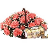 Beatiful 12 Carnation with 16pic Fererro Rocher Chocolates.