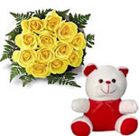 Send this wonderful gift hamper consist of a Bunch of 24 Yellow Roses with a 10 inches Cute Teddy.
