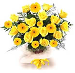 Ten Bright yellow Gerberas ,3 lovely Yellow Lilies and 6 Yellow Carnation with green fillers oozing out with energy, in a basket arrangement. <br>Send these bright basket to the one who is so closed to your heart.