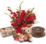 It cannot get better than this. 1 Pound Chocolate Truffle cake with 16 Pcs lipsmacking hazle nut Ferrero Rocher choclates, cute cuddle(6 inches) and a bunch of 12 fresh Red Roses. <br>Send this hamper and see your loved one cherishing every moment of it.<br><br> Picture is Indicative.