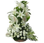 An arrangement of White Oriental Lilies, White Anthuriums, White Orchids and White Carnations.