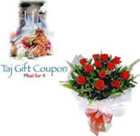 12 Red Roses Bunch with Dinner for Four Taj Vouchers.Gift your dear ones a memorable dining experience.<br><br>Hand delivery will be done for the roses bunch and it can be delivered your desired date. Voucher will be delivered through courier.<br><br><Strong>Shipping Info:</Strong> All non-perishable items are couriered from our head office. Please allow us 3-4 working days for delivering these gifts.