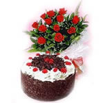 1/2 Kg. Black Forest cake with 12 lovely red dutch roses,is the best way to shower blessings on your loved one.