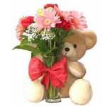 Send this hand tied bouquet of 6 bright Gerberas with this cute 6 inches teddy bear to Celebrate any Occasion.