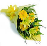 Bunch of bright 6 yellow gerberas & 3 Lilies with lots of green fillers wrapped attractively and tied with a matching ribbon.