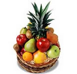 Arrangement of Fresh Fruits in a cane basket. (2 Kgs. of fresh seasonal fruits). <br>Fruits will depend on seasonal availibility